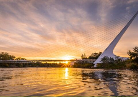 Sunset Real Estate in Redding and the Sundial Bridge at sunset