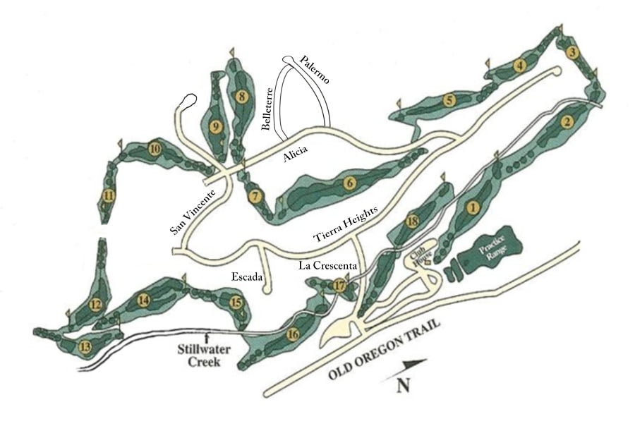 tierra oaks golf club - course and streets layout
